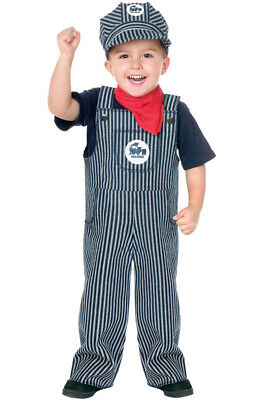 Train Conductor Engineer Striped Overalls Boys Outfit Toddler Costume