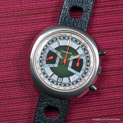Mondia Moonlander Vintage Chronograph Nos Valjoux 7734 Manual Wind 44Mm Green