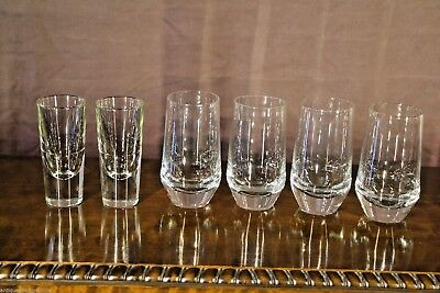 4 vintage crystal mid-century Whisky tumblers plus 2 shot glasses Scandinavian