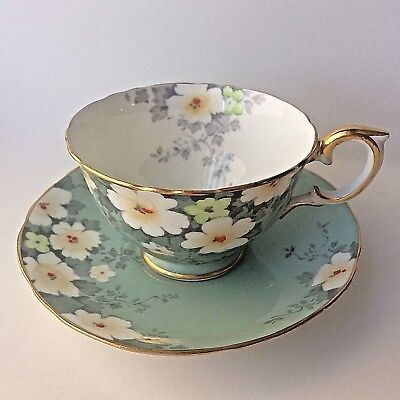 Crown Stafforshire Cup and Saucer F15157 - Floral w Gold Accents Scalloped