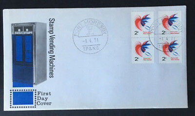 Papua New Guinea - 1971  Vending Machine 2 x 2c joined pairs First Day Cover