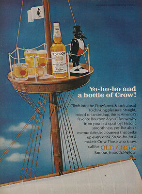 1966 Old Crow: Yo Ho Ho and a Bottle of Crow, Crows Nest Vintage Print Ad