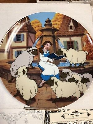 """Beauty And The Beast """"belles Favorite Story""""  Plate Mib W/cert."""