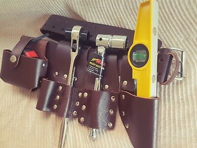 Scaffolding Leather BBI Tool Work Belt with Tool Set Spanner Ratchet Level TapePouch//Pockets Belt Level + 5m Tape Frog