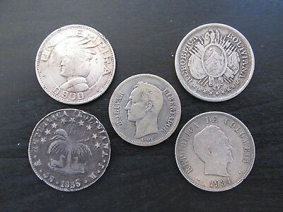 Lot of 5 Central & South American Silver Coins