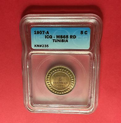 Tunisia - UNCIRCULATED 1907 A - 5 Centimes  - ICG MS 65 RD.