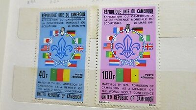 1971 Cameroon Scouts Movement 2 Stamp Set MUH