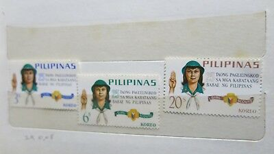 1969 Philippines Girl Guides Scouts 3 Stamp Set MUH