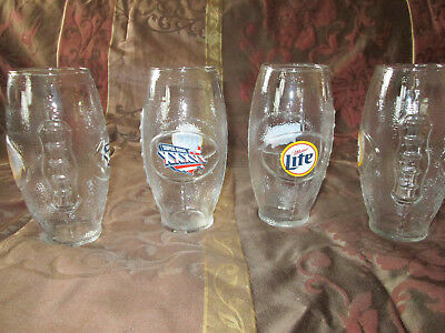 (4)SUPER BOWL XXXVI/MILLER LITE NFL New England Patriots Football Glasses *LOT*