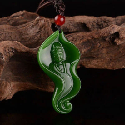 China Natural Hetian jade Green Jasper lucky Guanyin pendant necklace amulet
