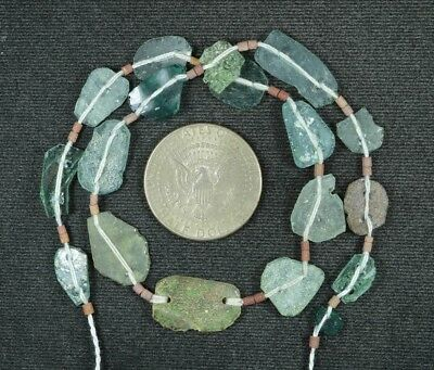 Ancient Roman Glass Beads 1 Medium Strand Aqua And Green 100 -200 Bc 857