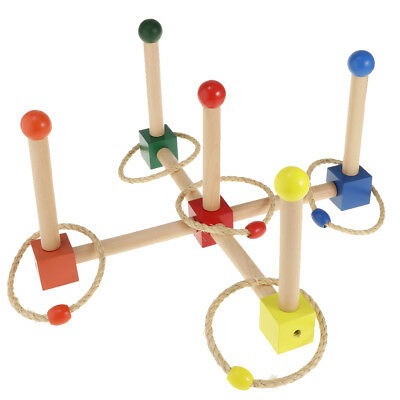 Creative Wood Ring Toss Vintage Game Beads Round Rope Ring Activity Game Toy