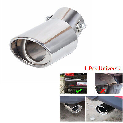 Car Universal Round Silver Stainless Steel Chrome Exhaust Tail Muffler Tip Pipe