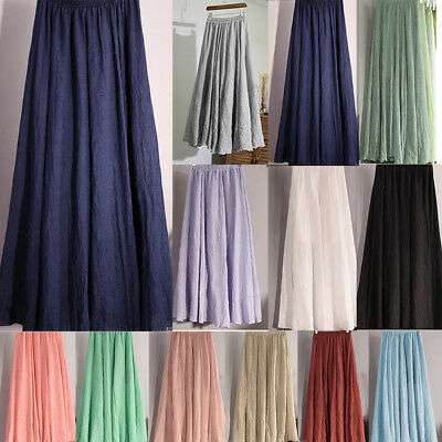 Women Lady Summer Boho Flare Pleated Casual Party Maxi Long Beach Skirt Dress US