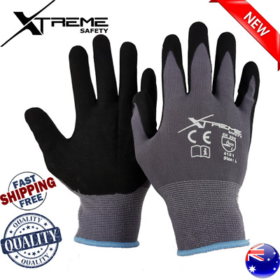 NEW 15G Xtreme Grey Safety Gloves Nitrile Mechanical Sandy Work Gloves 12 Pairs