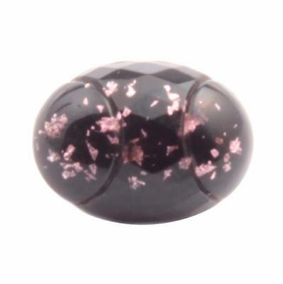16mm antique Czech foil marble under faceted glass oval black bicolor button