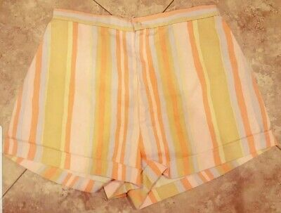 1950s 60s striped sherbert shorts pink Orange baby blue  yellow pin up