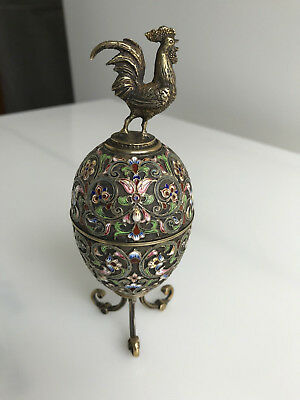 Russian Silver and Enamel Egg