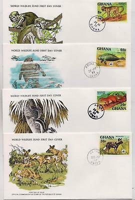 Ghana 1977 Wildlife - Four World Wildlife Fund First Day Covers FDC - (218)