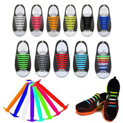 16x Easy No Tie Elastic Silicone Shoe Laces For Adults & Kids Trainers Shoes