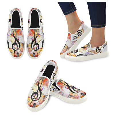 InterestPrint Custom Music Note Slip On loafers Women's Canvas Flat Shoes