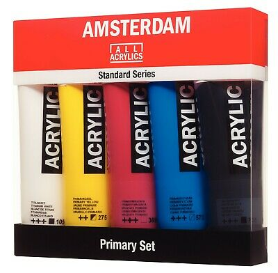 Royal Talens Amsterdam Acrylic Primary Colours Art & Craft Paint Set 5 x 120ml