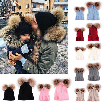 Women Mother Baby Child Warm Winter Knit Beanie Fur Pom Hat Crochet Ski Cap QM