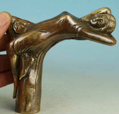 Chinese Old Bronze Handmade Carved belle Collect Statue Walking Stick Head