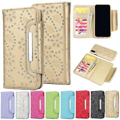 Lux Bling Diamond Wallet Card Holder Case Leather Cover For iPhone X 8 6s 7 Plus