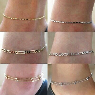 Ladies Girls Double Layer Bead Anklet Bracelet Chain Adjustable Gold Silver Uk
