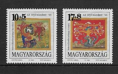 HUNGARY 1993 Youth Stamps, Tapestries, mint set of 2, MNH MUH