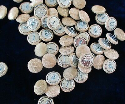 Silver Metallic Buttons Made from Vintage Trim French