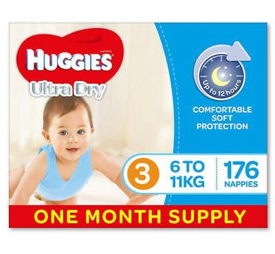 Huggies Ultra Dry Nappies, Boys, Size 3 Crawler (6-11kg), 176 Count, One-Month A