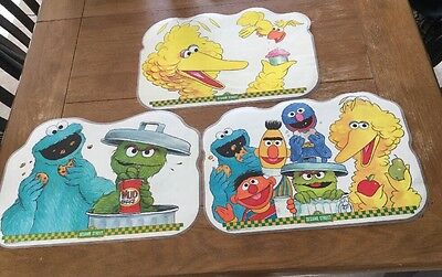 Vintage 1982 Sesame Street  Double Sided Placemats: Lot Of 3