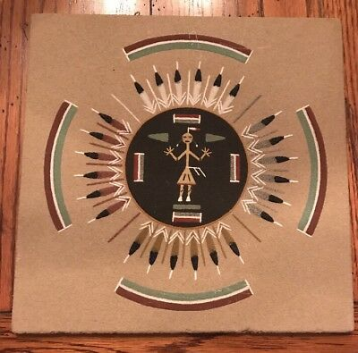 Vintage NAVAJO Sand Art Painting SUN AND EAGLE New Mexico Signed Yabeny