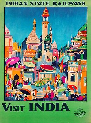Indian State Railways Visit India  Vintage Railroad Travel Advertisement Poster