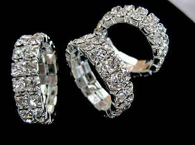 Stunning 2 Row Clear Crystal Stretchy Ring Silver Plated 1XRing