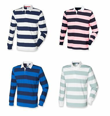 Mens Gents Long Sleeved Striped Cotton Rugby Shirt Top 4 colours S-XXL FR110
