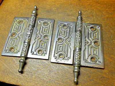 Antique Victorian Steeple Top Ornate Cast Iron 4x4 Door Hinges