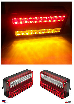 Pair 12V Led Rear Tail Lights Lamp 4 Function Trailer Caravan Truck Lorry 40 Led