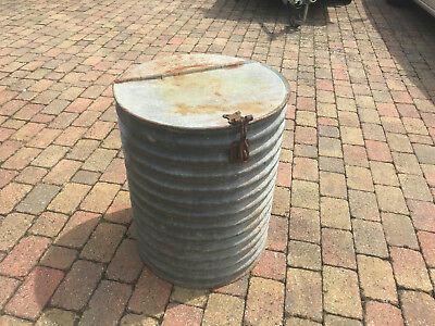 Vintage Dolly bin tub galvanised metal Garden Planter grain feed log store