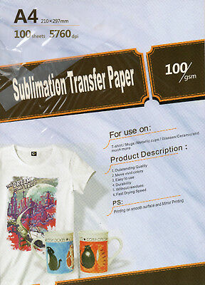"Sublimation transfer Inkjet Paper 8.3""x11.6"" A4 Size 100 sheets 100gsm"