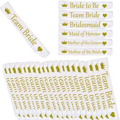 *white With Gold* Bulk Buy Lot Hen Party Team Bride Sash Girls Night Out Do