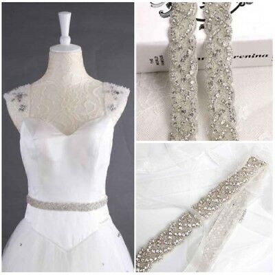 Crystal Bridal Belt Wedding Diamante Trim Dress Sash Applique Beaded Waistband