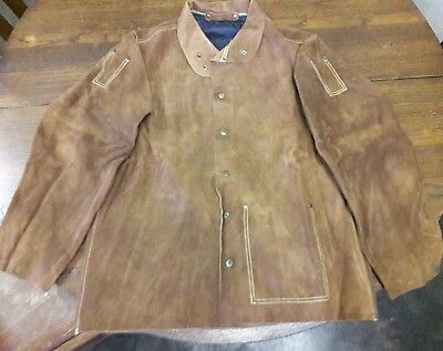"""NEW 30"""" Brown Leather Welding Jacket Custom Made Size Large"""