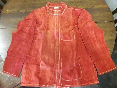 """NEW 30"""" RED Leather Welding Jacket Custom Made Size Large"""