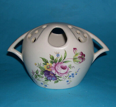 Vintage Axe Vale Pottery - Fetching And Unusual Pomander Twin Handled Vase.