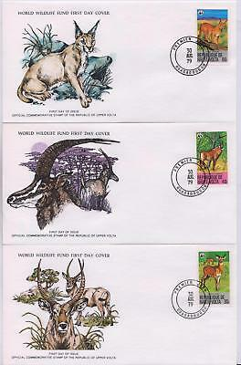 Upper Volta 1979 Endangered Animals - 3 WWF Illustrated FDCs - (253)