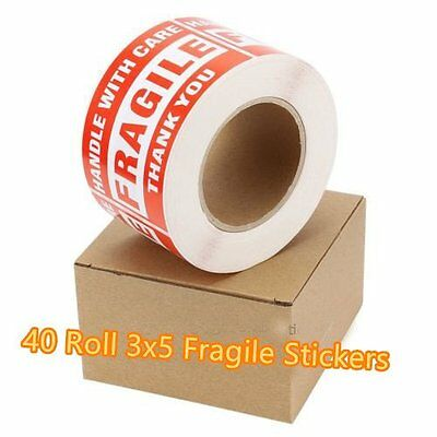 40 Roll 500/Roll 3x5 Fragile Stickers Handle With Care Thank You Shipping Labels