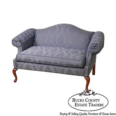 Queen Anne Style Blue Damask Upholstery Loveseat